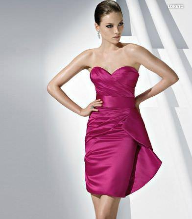 catalogo pronovias vestido fiesta corto fuscia