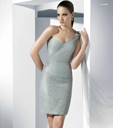 catalogo pronovias vestido fiesta corto gris