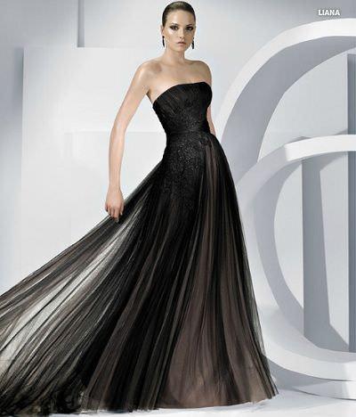 Vestidos de boda largos negro