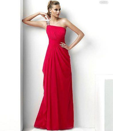 catalogo pronovias vestido fiesta largo rojo